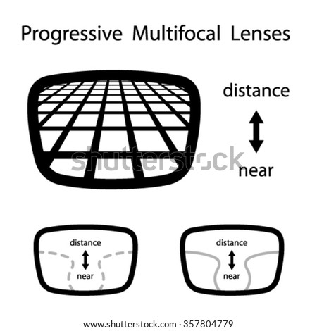 vector progressive multifocal glasses lenses - stock vector