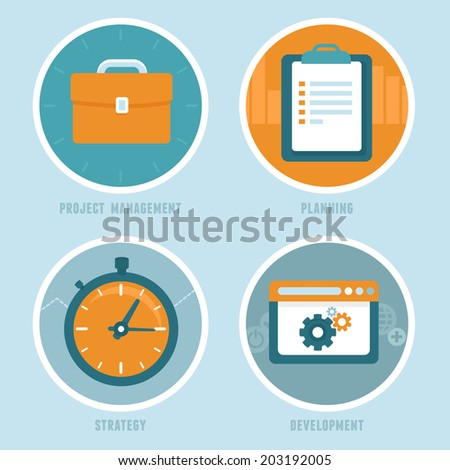 Vector project  management concepts in flat style - modern business icons - planning, strategy and development  for business and personal growth - stock vector