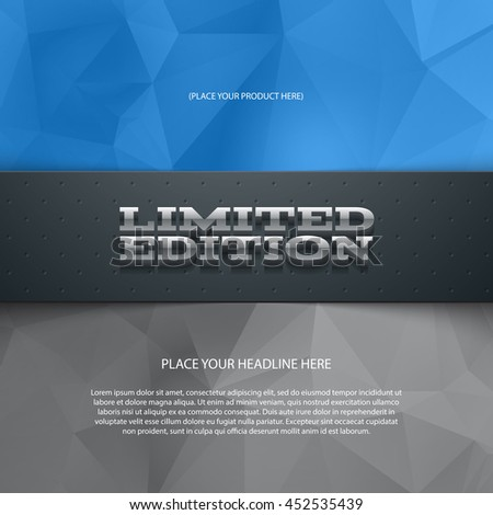 Vector promo banner with shadow and modern polygonal background. Limited edition. Dotted stripe. 3d metallic typography. Flyer design template. Web advertisement. - stock vector