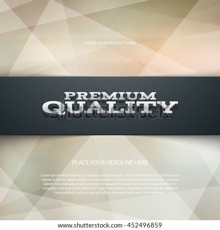 Vector promo banner with shadow and modern polygonal background. Premium quality. Dotted stripe. 3d metallic typography. Flyer design template. Web advertisement. - stock vector