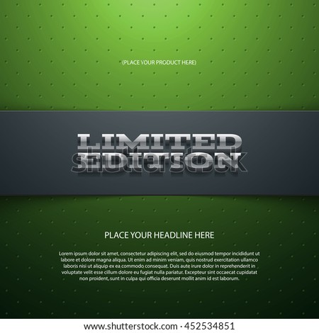 Vector promo banner with shadow. Limited edition. Dotted stripe. 3d metallic typography. Flyer design template. Web advertisement. - stock vector