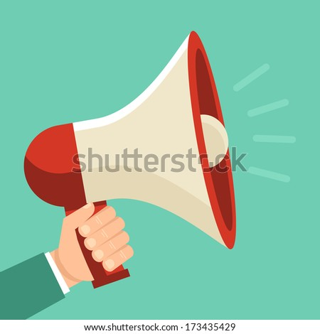 Vector promotion and advertising concept - icon in flat style. Male hand holding loudspeaker - stock vector