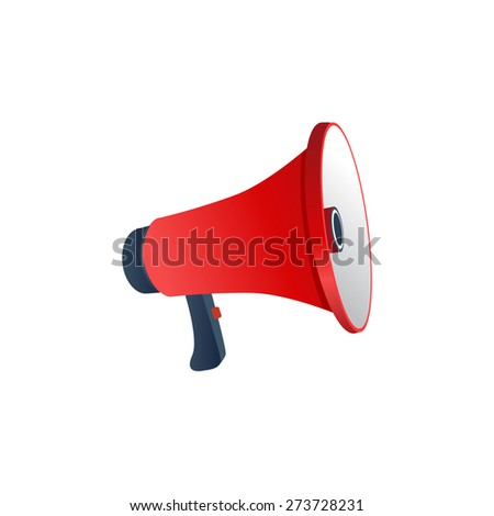 Vector promotion and advertising concept. Red Loudspeaker - stock vector