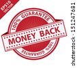Vector : Promotional Sale Tag, Sticker or Badge, Present By Red Money Back Label With 100 Percent Guarantee Text Around Isolated on White Background  - stock vector