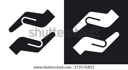 Vector protecting hands icon. Two-tone version on black and white background