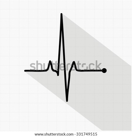 Vector pulse icon isolated over cardiogram grid, hospital related vector icon - stock vector