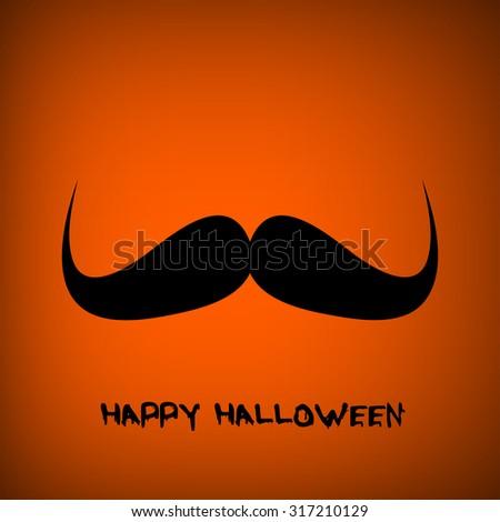 Vector pumpkin portrait with mustache for Halloween on background. EPS - stock vector