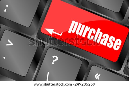 vector purchase key in place of enter keyboard button - stock vector