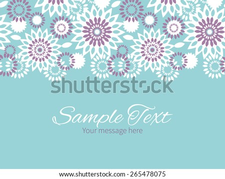 Vector purple and blue floral abstract horizontal border greeting card invitation template - stock vector