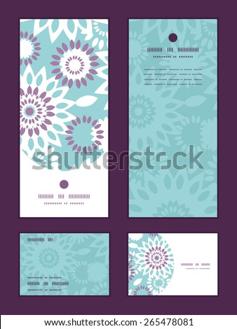 Vector purple and blue floral abstract vertical frame pattern invitation greeting, RSVP and thank you cards set - stock vector