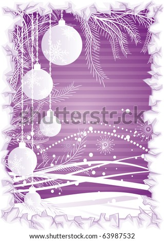 Vector purple background with christmas balls, waves, branches and ice border - stock vector