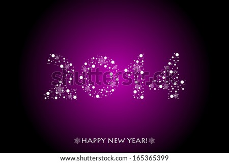 Vector 2014 purple background with sparkles - stock vector