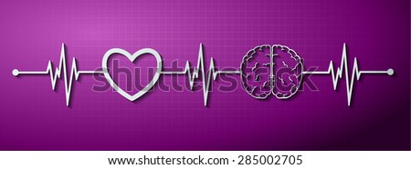 vector purple brain processes technology, creative idea concept. wave. ECG, EKG, electrocardiogram. pulse heart - stock vector