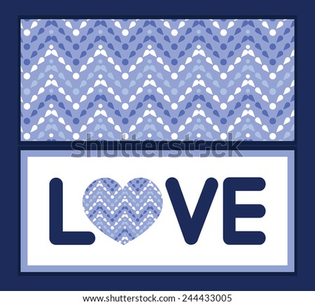 Vector purple drops chevron love text frame pattern invitation greeting card template