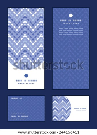 Vector purple drops chevron vertical frame pattern invitation greeting, RSVP and thank you cards set - stock vector