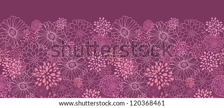 Vector purple field flowers elegant horizontal seamless ornament pattern background with hand drawn line art floral elements. - stock vector