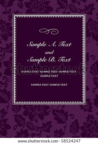 Vector purple floral frame with sample text. Perfect for 5x7 invitation or announcement. All pieces are separate. Easy to change colors. - stock vector