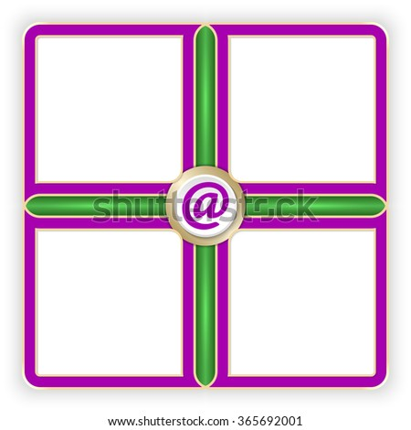 Vector purple frames for your text and email symbol - stock vector