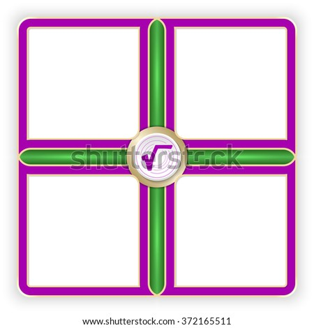 Vector purple frames for your text and radix symbol - stock vector