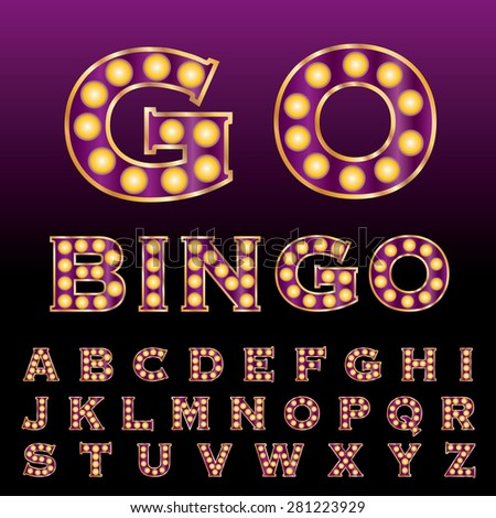 vector purple golden entertainment and casino letters with bulb lamps - stock vector