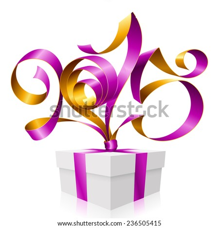Vector purple golden ribbon in the shape of 2015 and gift box. Symbol of New Year - stock vector