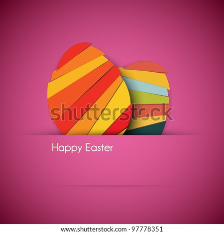 Vector purple Paper card with striped easter eggs - stock vector