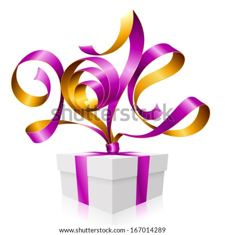 Vector purple ribbon in the shape of 2014 and gift box. Symbol of New Year - stock vector