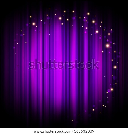 Vector purple stage background with lights - stock vector