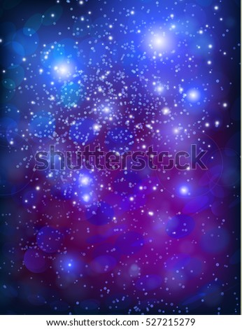 Vector purple template background with sparkles and glitter.
