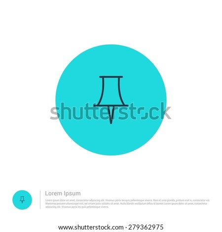 vector push pin icon thin line for web and mobile, modern minimalistic flat design. Vector outline icon and offset colour on light white background - stock vector