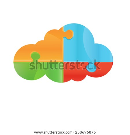 Vector puzzle. Design elements for your logo. Colorful Symbol. Vector eps10-06 - stock vector