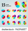 Vector puzzle diagram  3D set (pie chart) on white background,  part 3 - stock vector