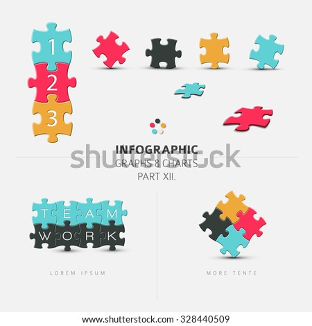 Vector puzzle elements for your infographics - part 12. of my infographic bundle - stock vector