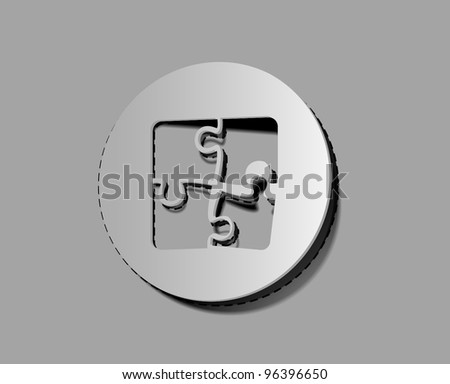 vector puzzle icons and elements for label/ striker design. - stock vector