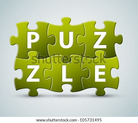 Vector puzzle lettering - made from puzzle pieces - stock vector