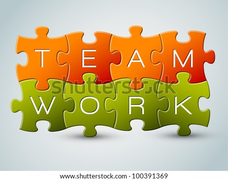 Vector puzzle teamwork illustration - orange and green - stock vector
