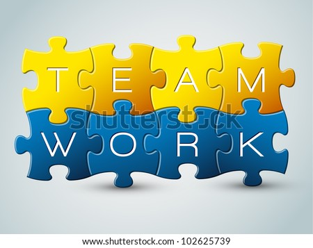 Vector puzzle teamwork illustration - yellow and blue - stock vector