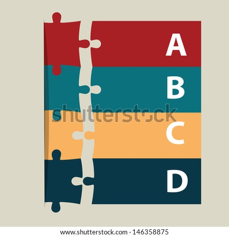 Vector puzzle template for  Infographics web design - stock vector