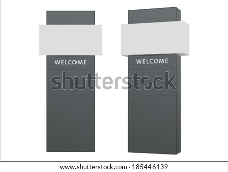 vector pylon sign signage construction blank concept design