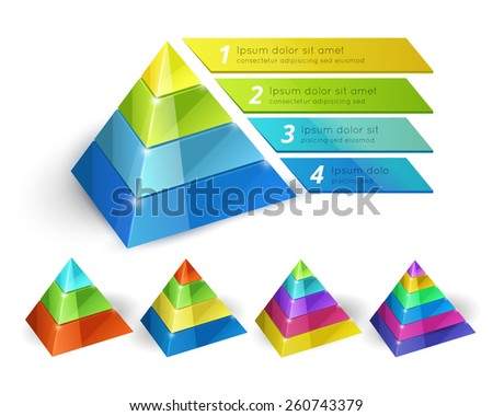 Vector pyramid chart isometric 3d templates with options for infographics and presentations  - stock vector