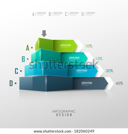 Vector pyramid for infographic or web design - stock vector