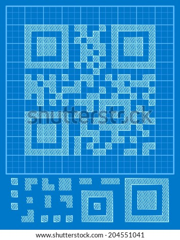 vector QR-code it and blue background, the designer to create your own binary code - stock vector