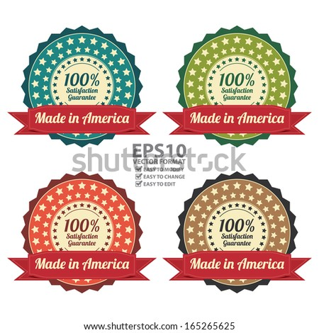 Vector : Quality Assurance and Quality Management Concept Present By Colorful Vintage Style Icon or Badge With Red Ribbon Made in America 100 Percent Satisfaction Guarantee Isolated on White - stock vector