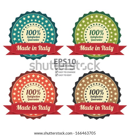 Vector : Quality Assurance and Quality Management Concept Present By Colorful Vintage Style Icon or Badge With Red Ribbon Made in Italy 100 Percent Satisfaction Guarantee Isolated on White Background  - stock vector