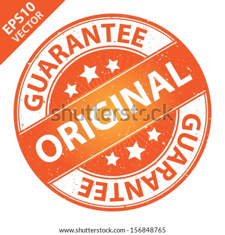 Vector : Quality Management Systems, Quality Assurance and Quality Control Concept Present By Original Label on Orange Grunge Glossy Style Icon With Guarantee Text Around Isolated on White Background  - stock vector