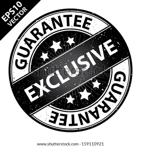 Vector : Quality Management Systems, Quality Assurance and Quality Control Concept Present By Exclusive Label on Black Grunge Glossy Style Icon With Guarantee Text Around Isolated on White Background  - stock vector