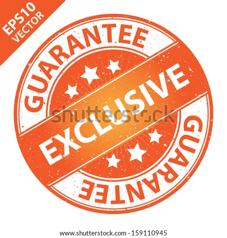 Vector : Quality Management Systems, Quality Assurance and Quality Control Concept Present By Exclusive Label on Orange Grunge Glossy Style Icon With Guarantee Text Around Isolated on White Background - stock vector