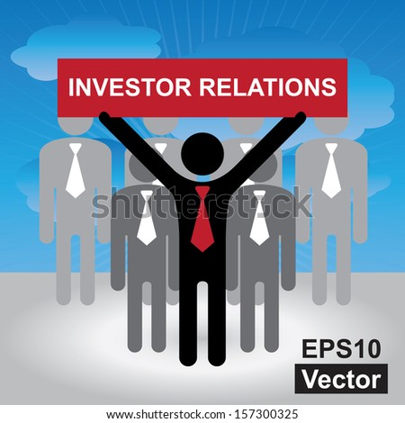 Vector : Quality Management Systems, Quality Assurance and Quality Control Concept Present By Group of Businessman With Red Investor Relations Sign on Hand in Blue Sky Background  - stock vector
