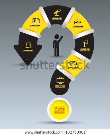 Vector question mark BLACK YELLOW with  icons / can use for info-graphic / loop business report or plan / modern template / education template / business brochure /  system diagram - stock vector