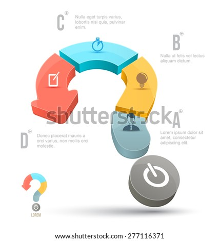 Vector Question mark business concepts with icons. can use for info graphic, loop business report or plan, modern template, education template, business brochure, system diagram. - stock vector
